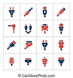 Set color icons of plugs and connectors isolated on white....
