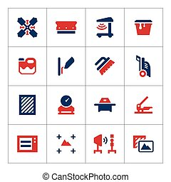 Set color icons of screen printing isolated on white. Vector...