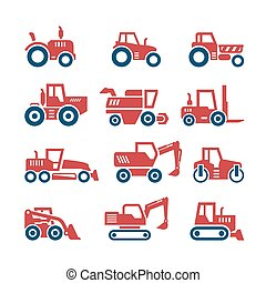 Set color icons of tractors, farm and buildings machines,...
