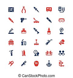 Set color icons of welding and soldering