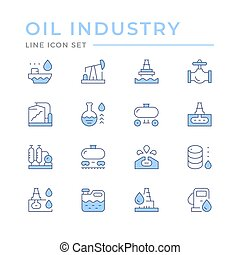 Set color line icons of oil industry