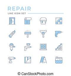 Set color line icons of repair