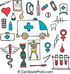Set color medical symbols and signs