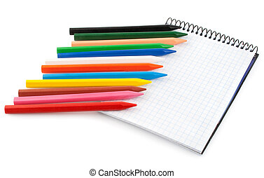 set color pencils with blank notebook