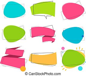 Set color ribbon and bubble. Vector linear style.