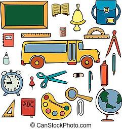 Set color  school symbols, signs hand drawn