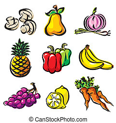 fruits and vegetables - set color vector imagec fruits and ...