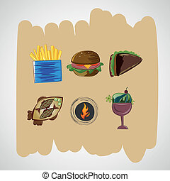 Set color vector sketches icons of food