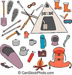 Set color winter camping symbols, signs