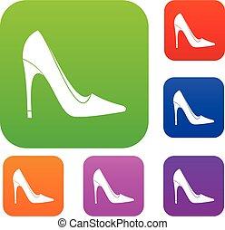 set, colorare, collezione, alto, scarpa, tallone