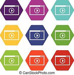 set, colorare, hexahedron, playback, programma, video, icona