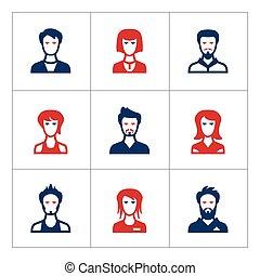 set, colorare, icone, di, persone