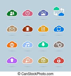set, colorare, icone, nuvola, tecnologia, contrasto