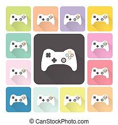 set, colorare, illustrazione, vettore, joystick, icona