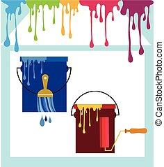set, colorare, spazzole, metallo, vernice, olio, lattine, rinnovamento domestico, rullo