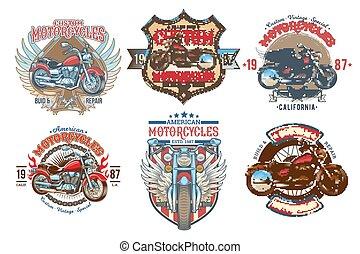 set, colorare, vendemmia, costume, emblemi, vettore, motocicletta, tesserati magnetici
