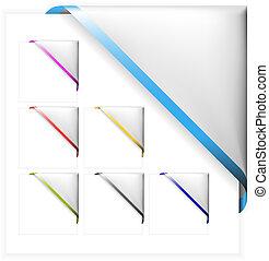 set, colorato, bordo, magro, angolo, bianco, nastri