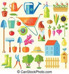 set, colorato, giardino, icona