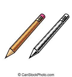 set, colorato, illustrazione, pensil, vettore, nero
