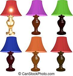 set, colorato, lampade, fondo, tavola, bianco