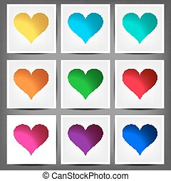 set colored banners in the shape of a heart