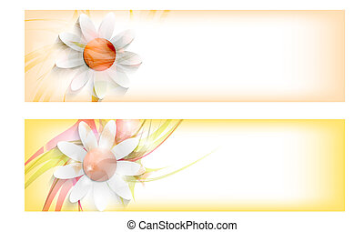 set colored vector abstract banners with flowers
