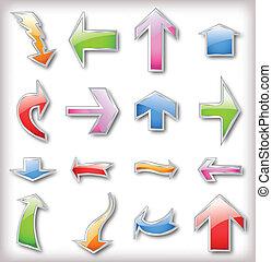 Set colorful arrows. Vector
