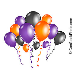 Set colorful balloons for Halloween party