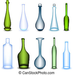 Set colorful bottle in different form. Vector