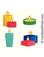 Set colorful candles isolated on white background. Aromatherapy burning candles with aromatic plant and essential oils for spa. Elements for new year, christmas cards and romantic. Vector illustration