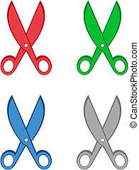 set colorful cartoon scissors