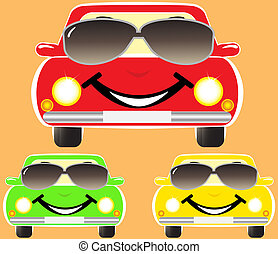 cute smile cars in sunglasses