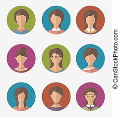 Set colorful female faces circle icons, trendy flat style