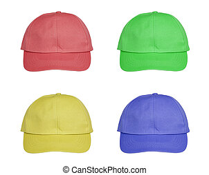 set colorful hat isolated on white background