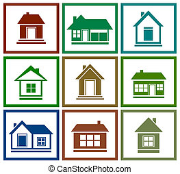 set  colorful house icon