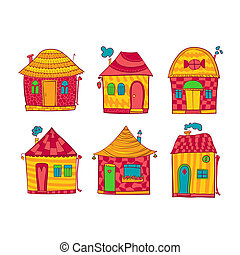 Set colorful houses in cartoon style