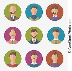 Set colorful male faces circle icons, trendy flat style