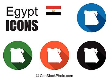 set colorful map flat icons state egypt