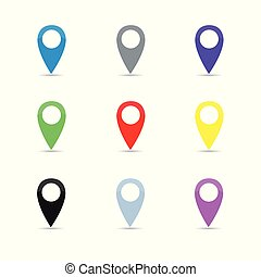 set colorful map pointer location pin icon marker symbol