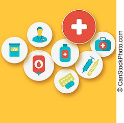 Set colorful medical icons for your design
