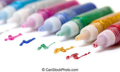 Set Colorful sparkle glue pens