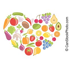 Set Colorful Vegetables and Fruits in Heart Shape