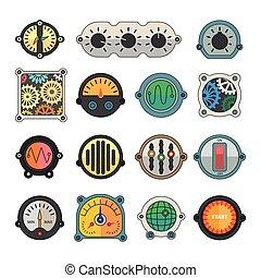 set., coloridos, medidor, ícones