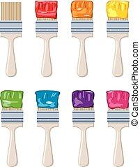 set, colorito, artista, spazzole, vernice, vettore