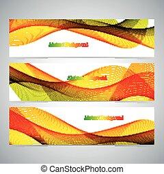 set, colorito, astratto, lines., illustrazione, vettore, curvo, bandiere