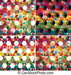 set, colorito, astratto, quattro, fondo., geometrico