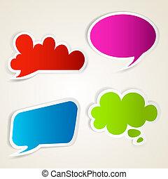 set, colorito, bolla, carta, discorso, adesivi