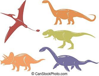 set, colorito, dinosauri, isolato, fondo., bianco