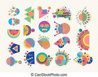 set, colorito, geometria, simbolo, elemento, astratto