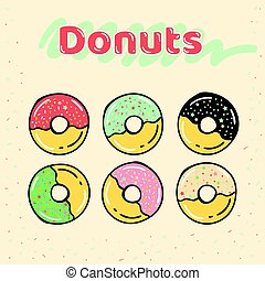 set, colorito, half-glazed, donuts, sweets., caramello
